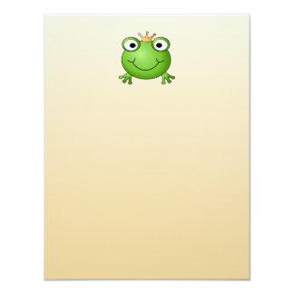 """Príncipe de la rana. Rana sonriente con una corona Invitación 4.25"""" X 5.5"""""""