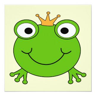 """Príncipe de la rana. Rana sonriente con una corona Invitación 5.25"""" X 5.25"""""""