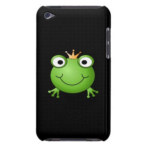 Príncipe de la rana. Rana sonriente con una corona iPod Case-Mate Funda