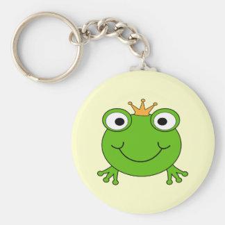Príncipe de la rana Rana sonriente con una corona Llavero