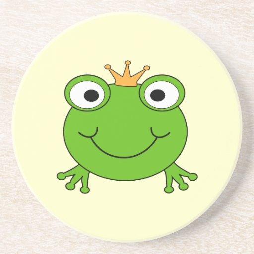 Príncipe de la rana. Rana sonriente con una corona Posavasos Cerveza