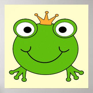 Príncipe de la rana. Rana sonriente con una corona Póster