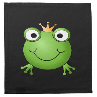 Príncipe de la rana. Rana sonriente con una corona Servilleta Imprimida