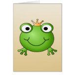 Príncipe de la rana. Rana sonriente con una corona Felicitaciones