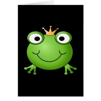Príncipe de la rana. Rana sonriente con una corona Tarjeta Pequeña