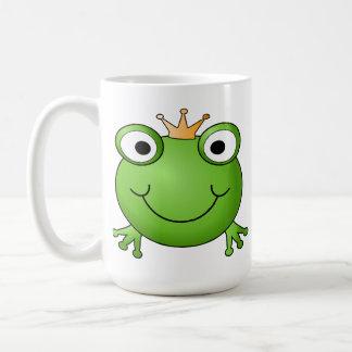 Príncipe de la rana. Rana sonriente con una corona Taza