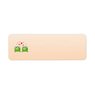 Príncipe de la rana y princesa de la rana, con los etiqueta de remite
