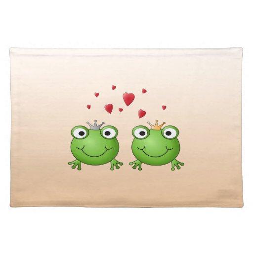 Príncipe de la rana y princesa de la rana, con los mantel individual