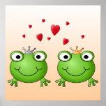 Príncipe de la rana y princesa de la rana, con los poster