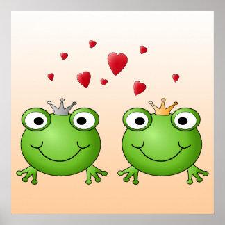 Príncipe de la rana y princesa de la rana con los poster
