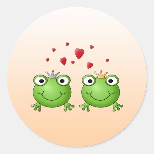 Príncipe de la rana y princesa de la rana, con los pegatina redonda