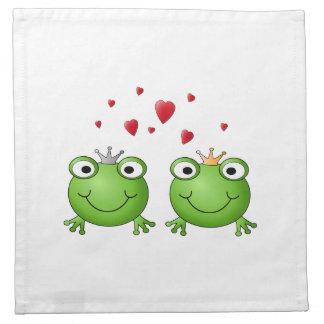 Príncipe de la rana y princesa de la rana, con los servilletas