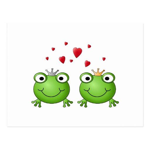 Príncipe de la rana y princesa de la rana, con los tarjetas postales