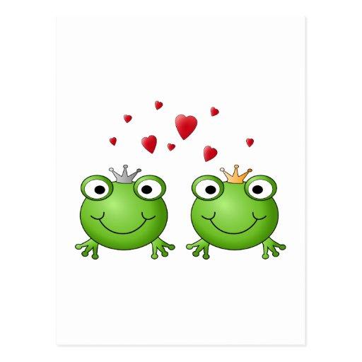 Príncipe de la rana y princesa de la rana, con los postales