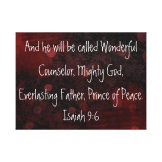 Príncipe del 9:6 de Isaías del verso de la biblia  Lona Envuelta Para Galerías