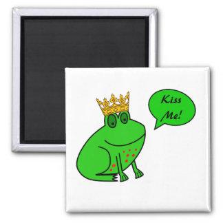 Príncipe divertido de la rana - imanes animales imán cuadrado