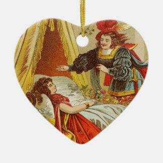 Príncipe el encantar adorno navideño de cerámica en forma de corazón