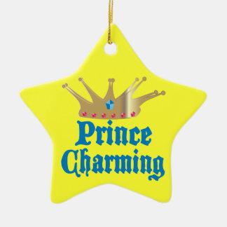Príncipe el encantar adorno navideño de cerámica en forma de estrella