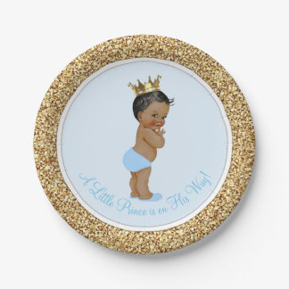Príncipe étnico afroamericano fiesta de bienvenida platos de papel