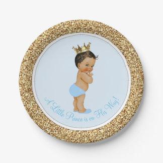 Príncipe étnico fiesta de bienvenida al bebé platos de papel