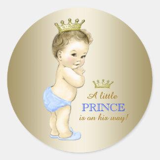 Príncipe fiesta de bienvenida al bebé de los pegatinas redondas