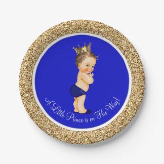 Príncipe fiesta de bienvenida al bebé del azul platos de papel