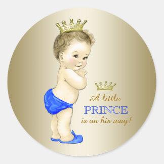 Príncipe fiesta de bienvenida al bebé del azul y pegatinas redondas