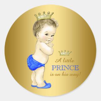 Príncipe fiesta de bienvenida al bebé del azul y etiquetas redondas