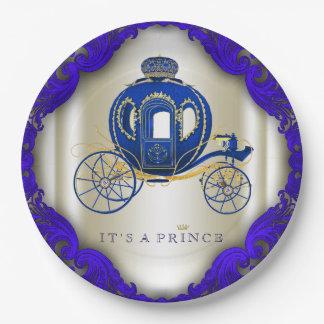 Príncipe fiesta de bienvenida al bebé del azul y plato de papel de 9 pulgadas