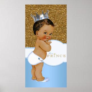 Príncipe fiesta de bienvenida al bebé del azul y póster