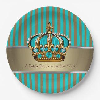 Príncipe fiesta de bienvenida al bebé del oro de platos de papel