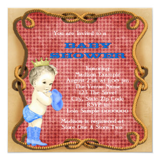 Príncipe fiesta de bienvenida al bebé del vaquero invitación 13,3 cm x 13,3cm