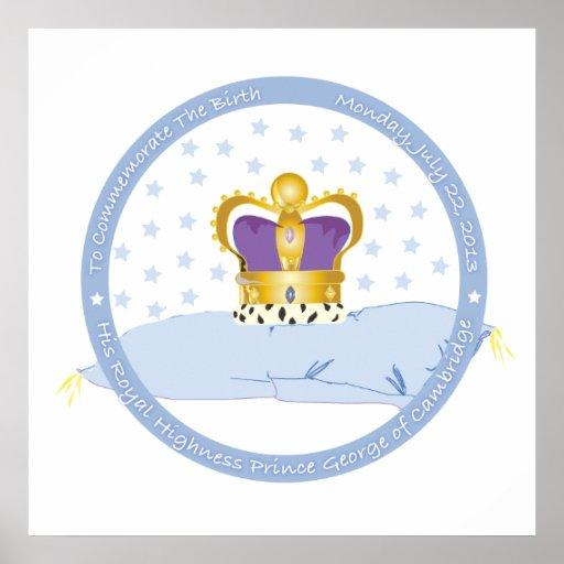 Príncipe George de la almohada y de la corona de C Póster