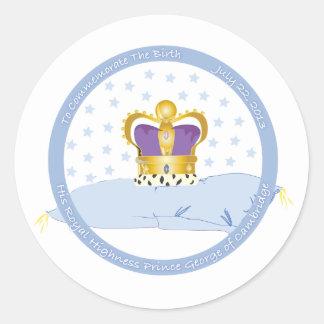 Príncipe George de la almohada y de la corona de Pegatina Redonda
