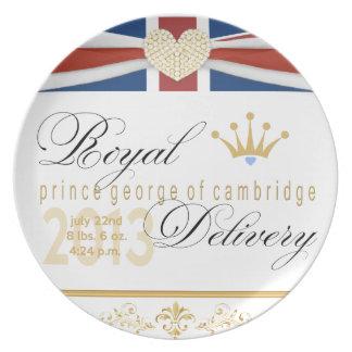 Príncipe George de la placa 2013 del recuerdo de C Platos De Comidas