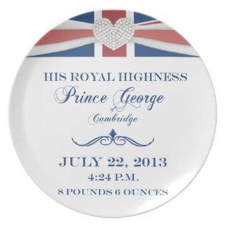 Príncipe George de la placa 2013 del recuerdo de C Plato De Cena