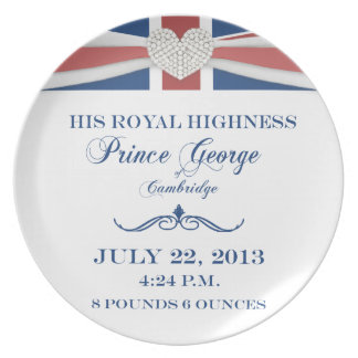 Príncipe George de la placa 2013 del recuerdo de C Plato De Comida