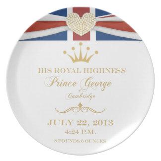 Príncipe George de la placa 2013 del recuerdo de C Platos Para Fiestas