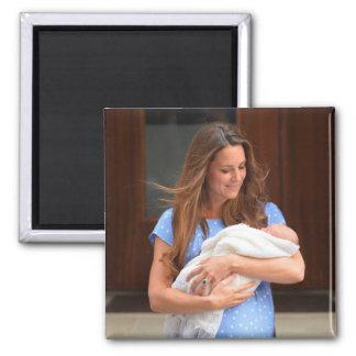 Príncipe George Royal Baby Imán Cuadrado