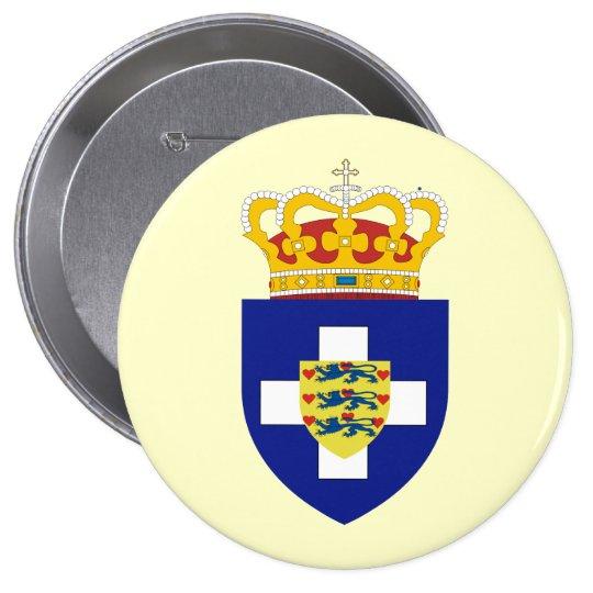 Príncipe griego Arms, Grecia Pin Redondo De 4 Pulgadas