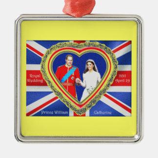 Príncipe Guillermo y boda real de Catherine Adorno Navideño Cuadrado De Metal
