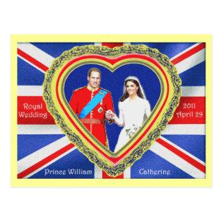 Príncipe Guillermo y boda real de Catherine Postal