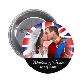 Príncipe Guillermo y botón real del boda de Cather Pin Redondo De 2 Pulgadas