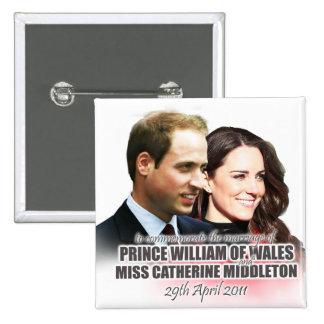 Príncipe Guillermo y botón real del boda de Kate Pin Cuadrado