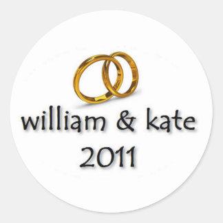 Príncipe Guillermo y el boda de Kate Pegatina Redonda