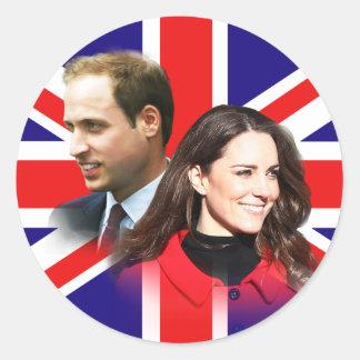 Príncipe Guillermo y pegatinas de Kate Middleton Pegatina Redonda