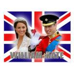 Príncipe Guillermo y postal de Catherine