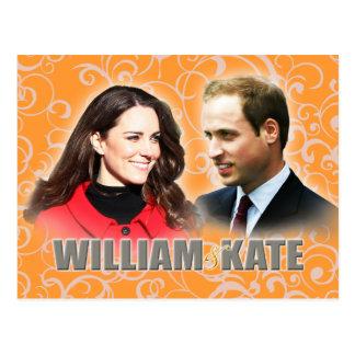 Príncipe Guillermo y postal de Kate Middleton