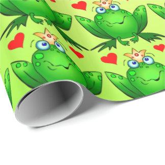 Príncipe Hearts Cartoon Cheerful Green de la rana Papel De Regalo