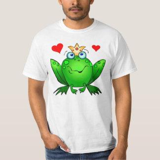 Príncipe Hearts Green Cartoon Frog de la rana Playeras